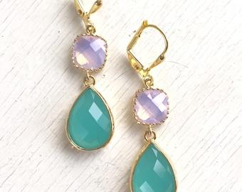 Aqua and Pink Opal Dangle Earrings in Gold. Drop Earrings. Dangle Earrings. Bridesmaid Gift. Wedding. Bridal Jewelry. Aqua Earrings.