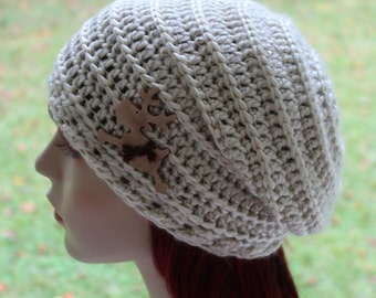 Slouchy Woman Handmade Crochet Hat Clothing Cap Linen Women Crochet Slouchy Hat Womens Fall Winter Fashion Maine State Animal Moose