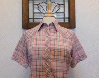 1970s Plaid Shirt Vintage 70s Pink Blouse with Snaps - M