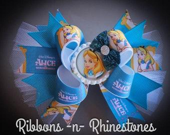Alice in Wonderland Boutique Hair Bow, Through the Looking Glass Bow, Alice In Wonderland Bow, Alice in Wonderland Party, Alice Bows