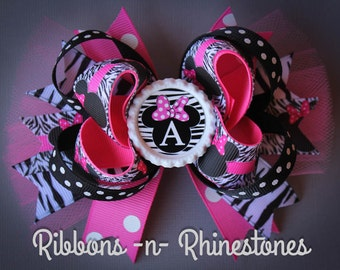 Minnie Mouse Boutique Style Hair Bow, Personalized Minnie Mouse Bow, Zebra Print Minnie Mouse Hair Bow
