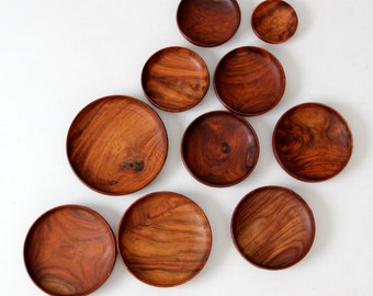 rosewood bowl collection vintage wood serving plates, 10 pc set