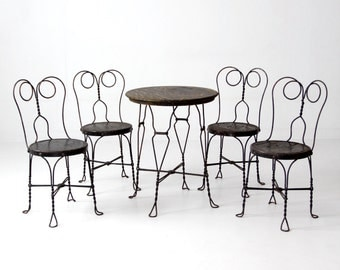 Ice cream parlor table and chairs, vintage black cafe table set