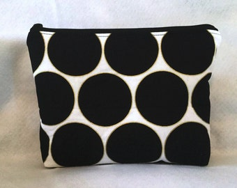 Sale-Black and gold cosmetic Bag/Accessory Bag-Large