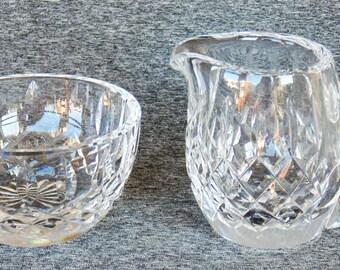 Fostoria Heavy Diamond Cut Crystal Sugar Bowl & Creamer PRISTINE