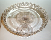 Cake Stand,Open Lace, Crocheted Crystal