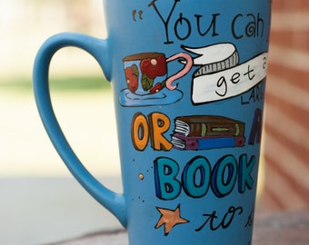 """C.S. Lewis """"You can never get a cup of tea large enough or a book long enough to suit me"""" - Very tall, aqua blue mug w books, hand painted"""
