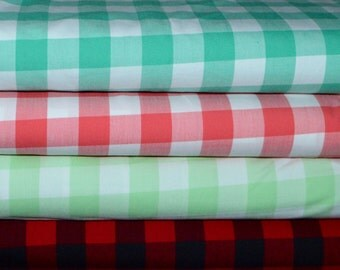 Robert Kaufman. Carolina Gingham. 1 inch. Seafoam, Coral, Mint, and Scarlet - Cotton fabric BTY - Choose your cut and color