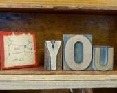 Vintage Wooden Letterpress YOU Letter Type for Home Decorative
