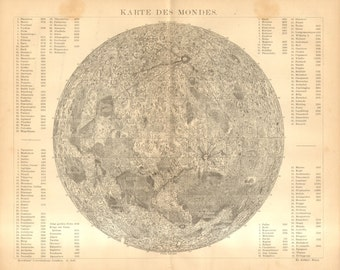 1885 The Surface of the Moon Original Antique Map