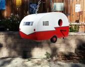 Vintage 50s/60s Travel Trailer Bird House Red