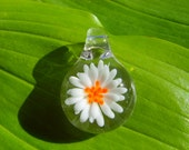 Mini Blown Glass Pendant, Glass Flower Pendant, Glass Neckace, Hippie Boho Jewelry, Glass Jewellery, White Orange Flower, Small Glass Pendy