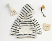 Baby hoodie, blue stripes, striped baby hoodie, french terry hoodie, newborn raglan, baby sweatshirt, modern baby clothing, toddler hoodie