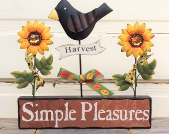 AG Designs Fall Decor - Harvest Crow & Sunflowers Simple Pleasure #613/15