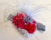 Elegant Red, Hot Pink & Silver whimsical floral feather headband/ hairclip