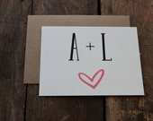 Wedding Thank You Cards with Envelopes / Initials and Heart Wedding / Shower / Engagement / Set of 10