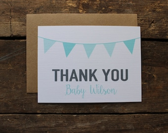 Custom Baby Shower Thank You Cards // Baby Shower // Aqua Shower // Aqua Personalized Thank you Note Set