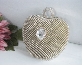 Apple Shape Hard Case Fabric Wedding Bag Clutch Formal Evening Bag with Crystals Accent Brooch fashion bag