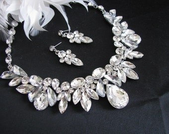 Wedding Necklace Great Bridal Wedding Jewelry Pageant Jewelry Bridal Statement Necklace  Set, Vintage Style