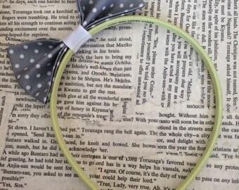 Gray and green polkadot bow tie  headband