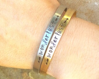 Wonderlust Cuff, Wanderlust Cuff, Personalized Skinny Bracelet, Hand Stamped Message Bracelet, Skinny Cuffs, natashaaloha