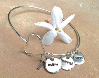 Mother Bangle, Personalized Bangle Bracelet,Personalized Family Bangle, Hand Stamped Custom Bangle