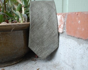 Vintage Mens Handmade Authentic Brooks Brothers Makers Polka Dot Olive Green Tie Necktie Dress Suit Tie Wedding Classic Hipster High Fashion