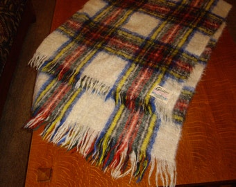 Vintage Plaid Mohair and Wool Throw White Red Green Yellow Lap Blanket Very Warm