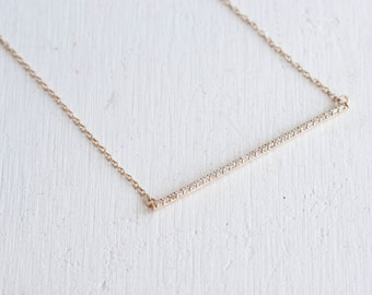 Pavé Diamond Bar Necklace | 14k Gold