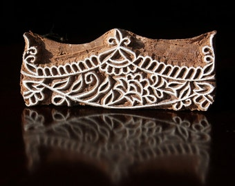 Hand Carved Indian Wood Textile Stamp Block, Tjaps, Pottery Stamp- Floral Border
