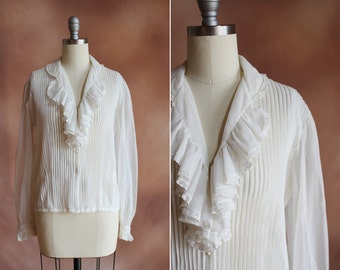 vintage 1950's white sheer nylon pin tuck ruffled blouse with lace trim / size m