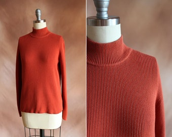 vintage 1990's rust ribbed long sleeve cotton mock turtleneck sweater top / size s - m
