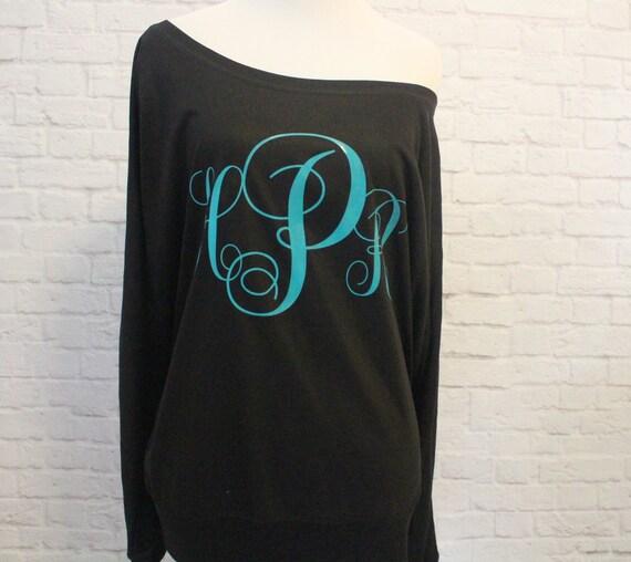 Monogram Flowy off the Shoulder Long Sleeve T-shirt