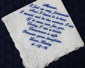 Mother of the Bride Handkerchief --Corner design with Wedding date, White with Crochet Border