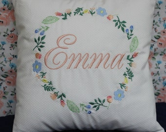 Baby Pillow personalized in a wreath