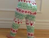 SALE Red, Green, White, Winter, Deer, Unisex, Baby Girl, Baby Boy Knit Leggings Pants