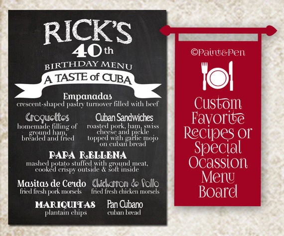 Birthday party menu board restaurant sign for event special like this item stopboris Image collections