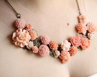 Vintage Inspired Flower Bib Necklace - Floral Statement Jewelry - Coral Bib Necklace - Bridesmaid Bib Necklace - Wedding Bib Necklace