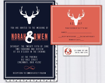 Deer Antler Wedding Invitations,  Outdoor Nature Wedding, Navy Blue and Coral Wedding Invites, Hipster Wedding Stationery, Cheap Invites