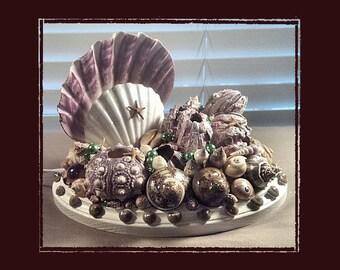 "Sea Shell Light Lion Paw Shell 9""W, Beach/Coastal/Nautical Decor, Whimsical/Romantic/Accent Light, Wedding/Anniversary/Housewarming Gift"