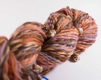 Handspun Yarn, Art Yarn, Hoo Hoo,  Bulky Yarn, 156 yards, Handpainted Wool