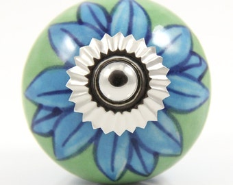Green and turquoise flower knob 4.0cm MUL027