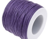 Waxed Cord : 100 Yard Spool Royal Purple 1mm Waxed Cord String / Bracelet Cord / Macrame Cord / Chinese Knotting Cord  41331