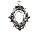Cabochon Settings : 10 Oval Antique Silver Cabochon Settings / Bezels ... Holds 18x13mm Cabochon -- Lead, Nickel & Cadmium Free 65524.H5J