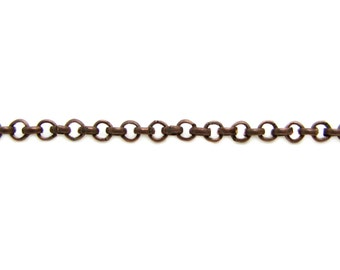 Chain : 16 feet (5 meters) Antique Copper Petite Rolo Chain | Red Copper Cross Chain | Rollo 2mm x .7mm -- Lead, Nickel & Cadmium Free 34053