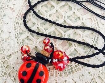 DIY Glass LADYBUG Purfume Pendant with Crystals  - LadyBug Necklace