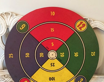 Vintage Dart Game Board - Pressboard Wall Hanging - Primary Colors - Distressed