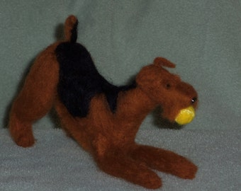 Airedale needle felted dog in stock ready to ship now