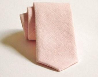 Pink petals hopsack linen necktie