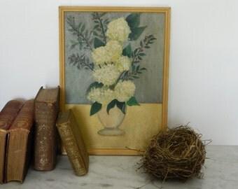 Vintage Hydrangea Floral Bouquet Painting.